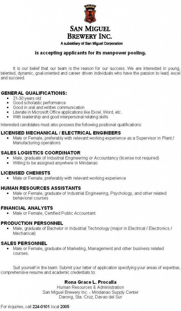 San Miguel Brewery Mindanao job ad