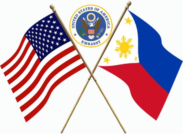 us embassy manila logo | two flags american and philippine