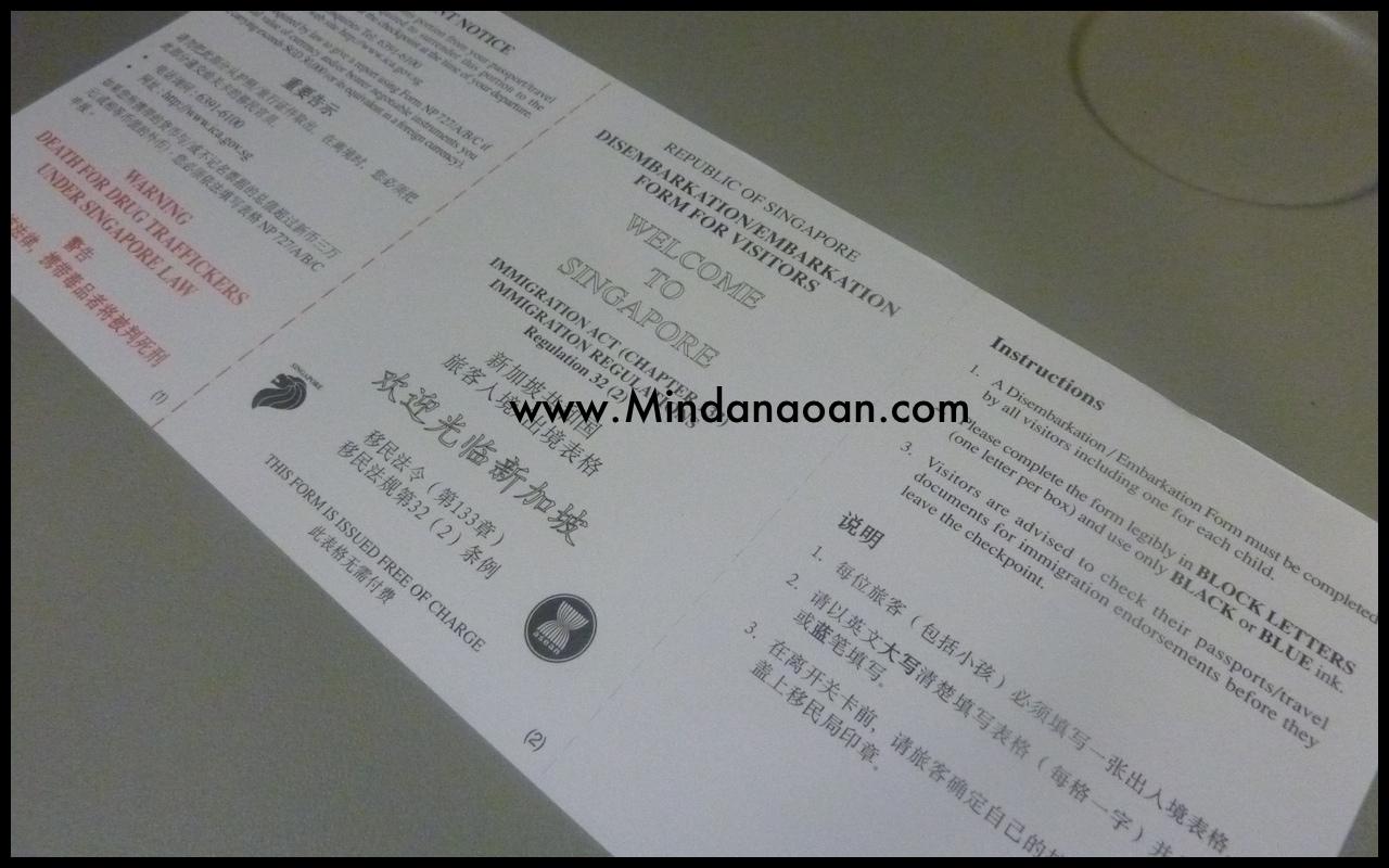 embarkation card singapore