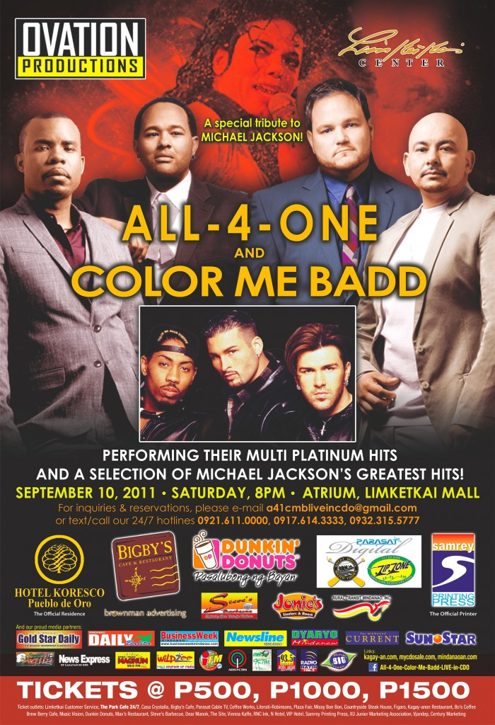 all 4 one and color me badd live in cagayan de oro philippines