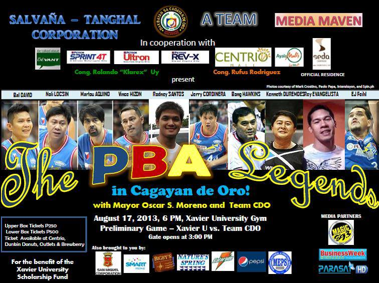 The preliminary game will feature Team CDO and Xavier University at 4 ...: http://www.mindanaoan.com/2013/08/catch-the-pba-legends-in-cdo-vincehizon12/