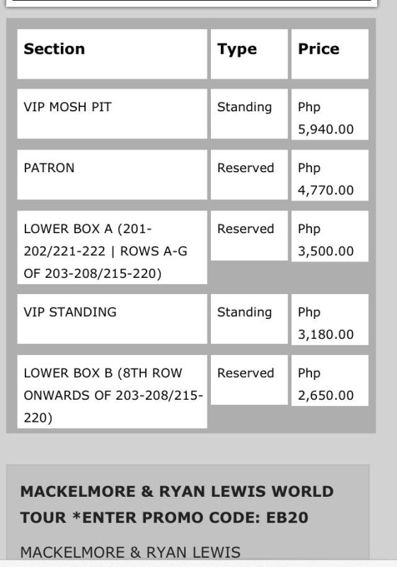 macklemore manila ticket prices