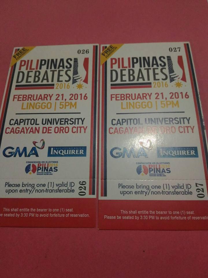 pilipinas debates 2016 tickets