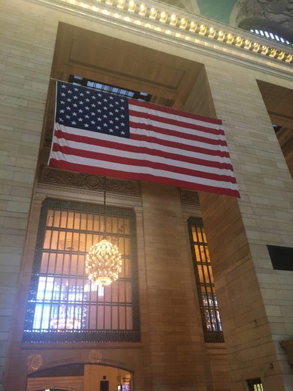 american flag grand central terminal new york