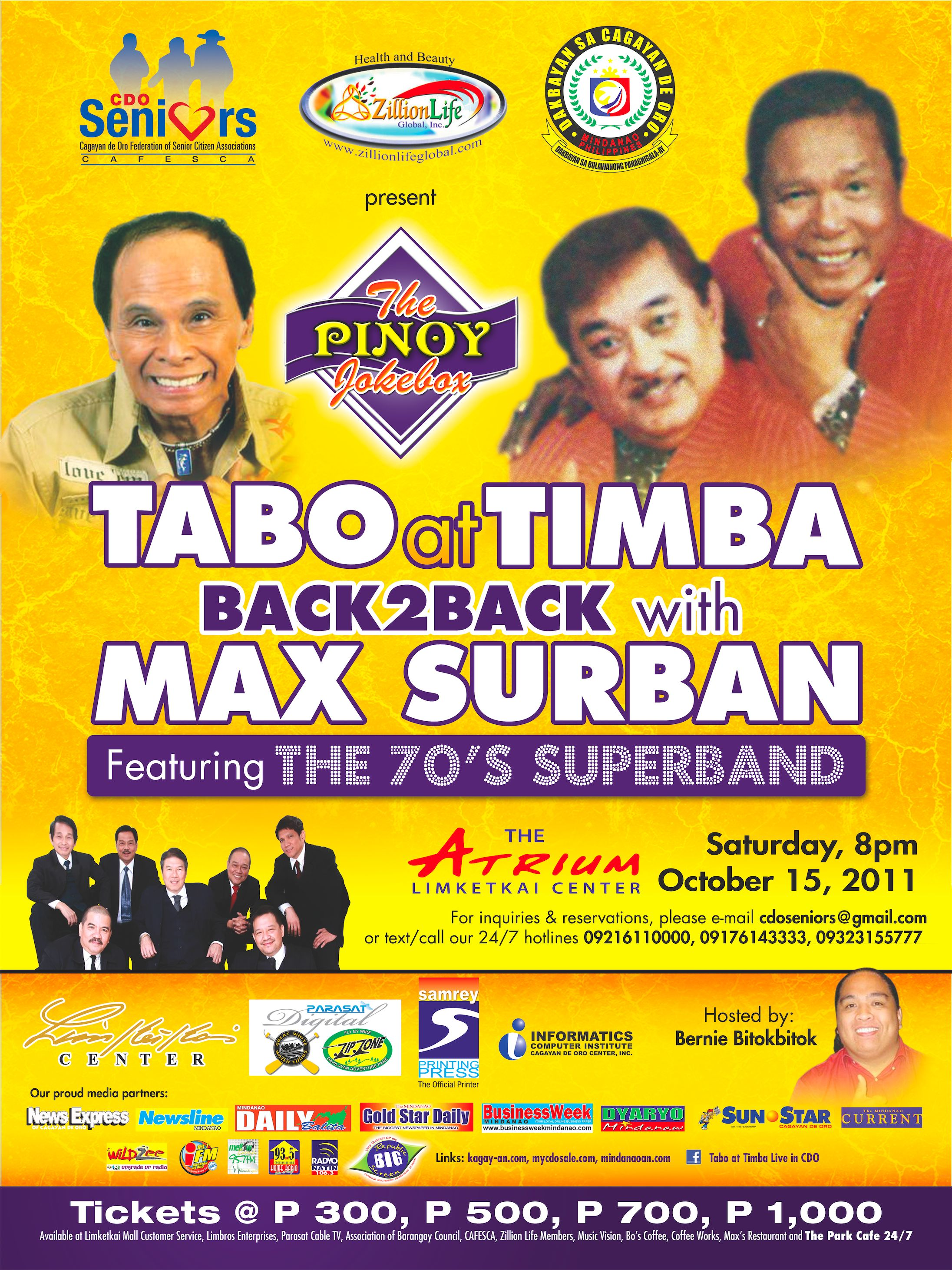 UPDATED: Tabo at Timba and Max Surban featuring the 70's Superband Live in CDO this October 15, 2011!