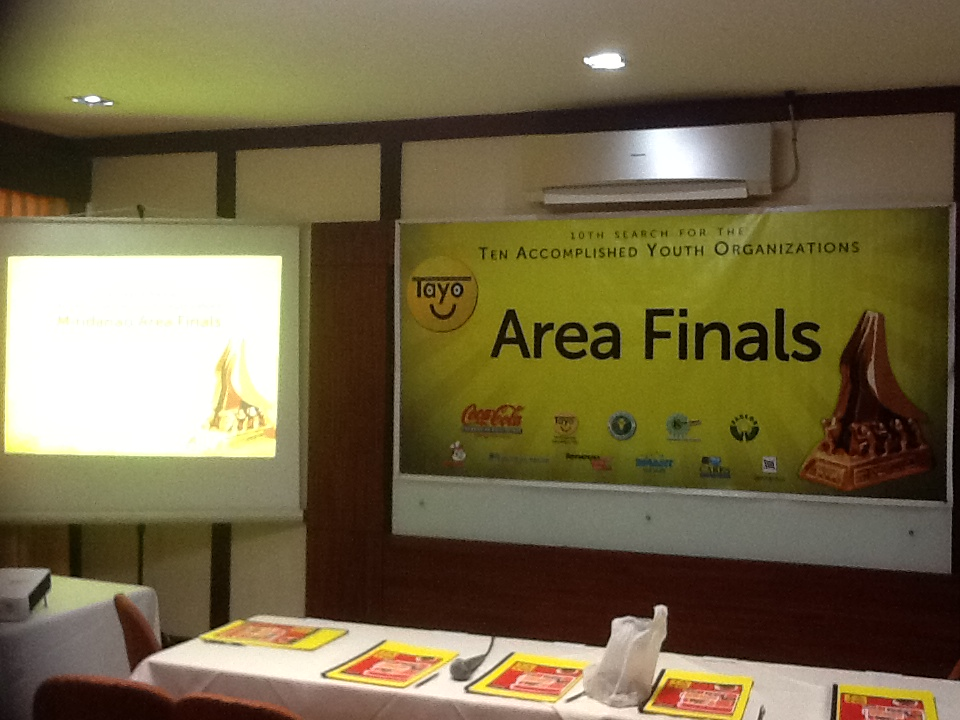 Serving as a judge of the TAYO Awards 2012 Mindanao Area Finals
