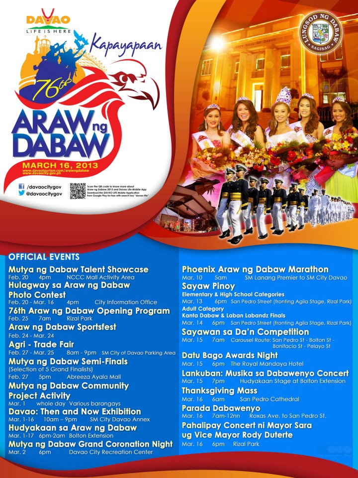 76th Araw ng Dabaw 2013 Schedule Of Activities