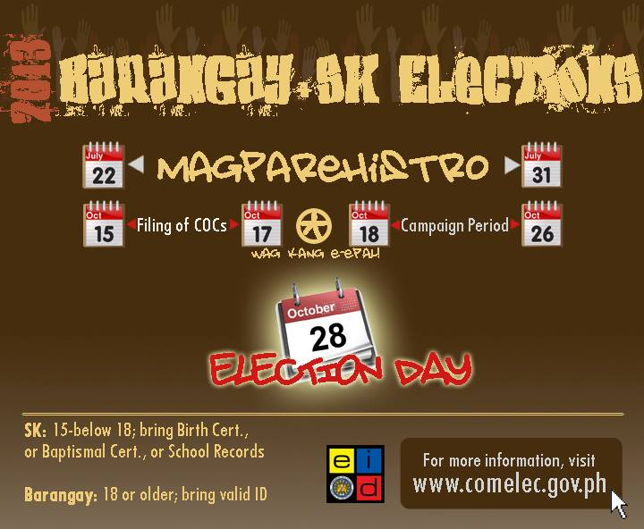 Barangay and SK Elections 2013 – important dates, requirements