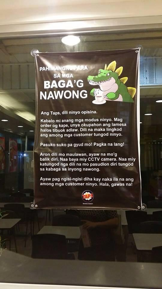 TAPS restaurant Davao has a warning for table hoggers