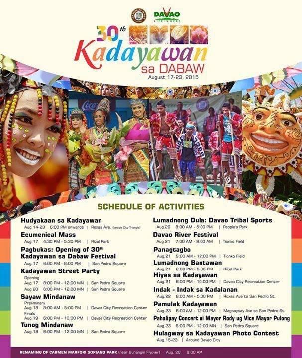 Kadayawan 2015 schedule of activities