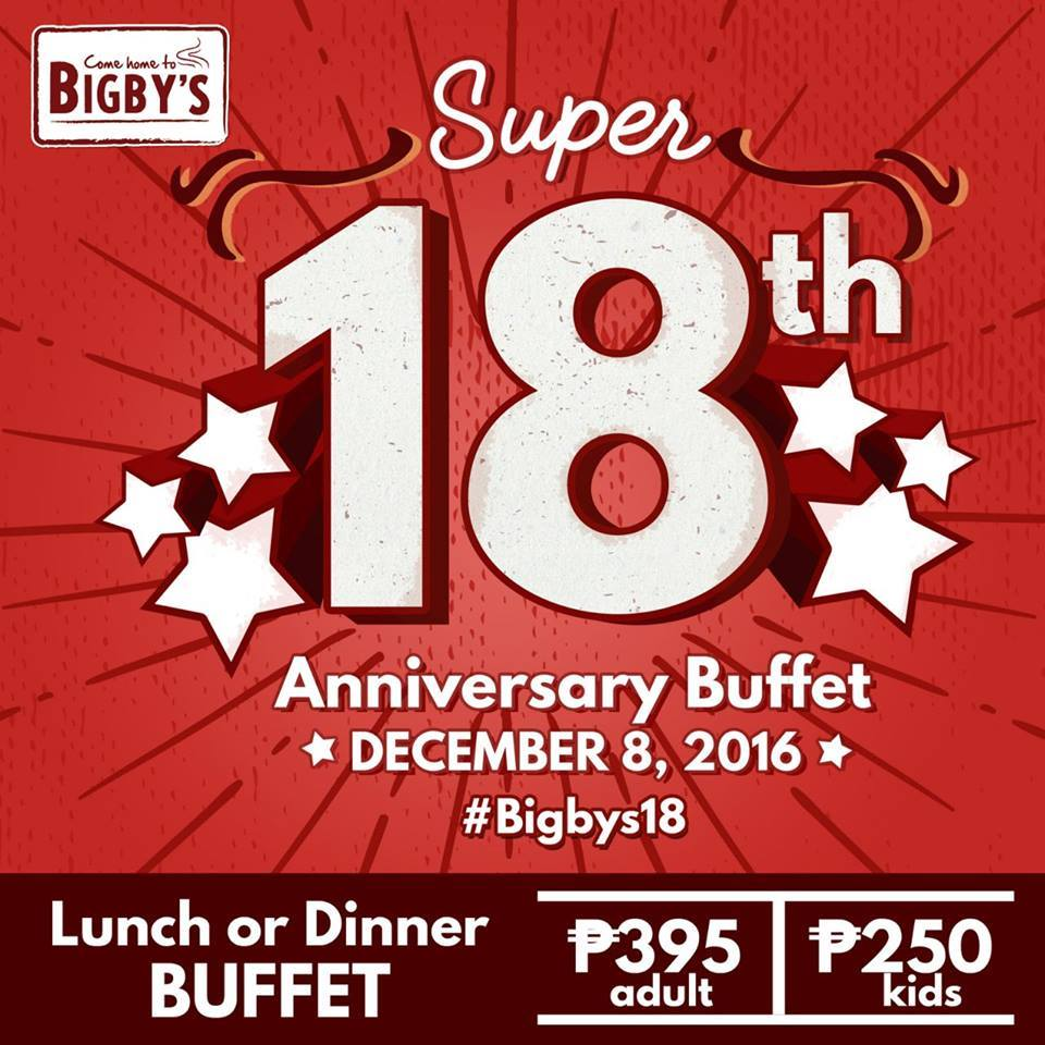Here's a Bigby's buffet offer you should not miss on December 8! (offer is good in all branches nationwide!)