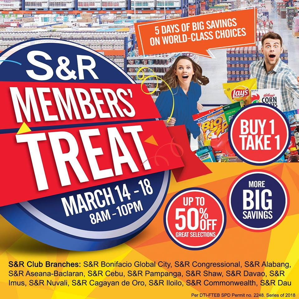 OFFICIAL LIST: Sale, buy 1 take 1 items during S&R CDO Members Treat